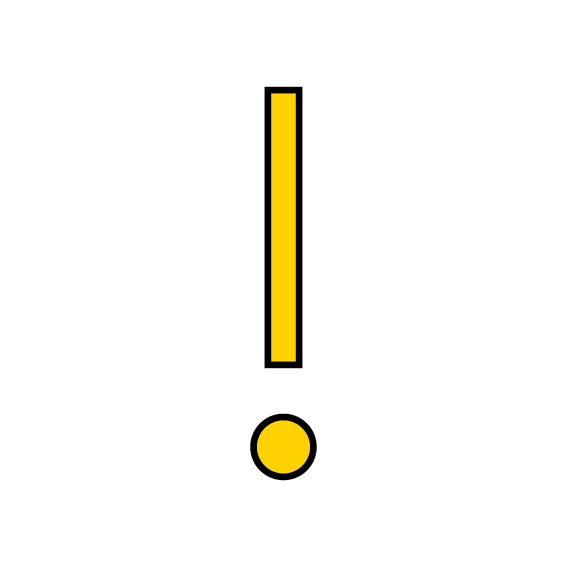 Graphik Ausrufezeichen gelb